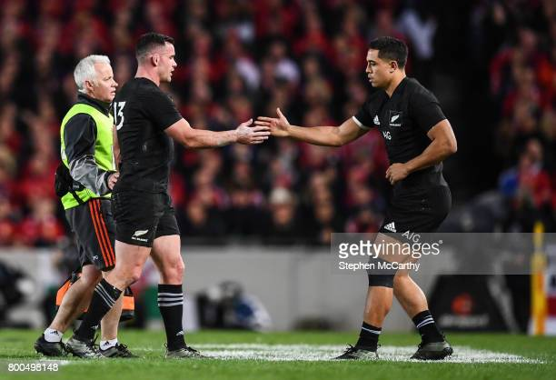 Auckland New Zealand 24 June 2017 Ryan Crotty is replaced by his New Zealand teammate Anton LienertBrown after picking up an injury during the First...