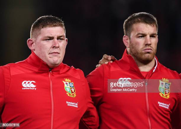 Auckland New Zealand 24 June 2017 Tadhg Furlong left and Sean O'Brien of the British Irish Lions prior to the First Test match between New Zealand...