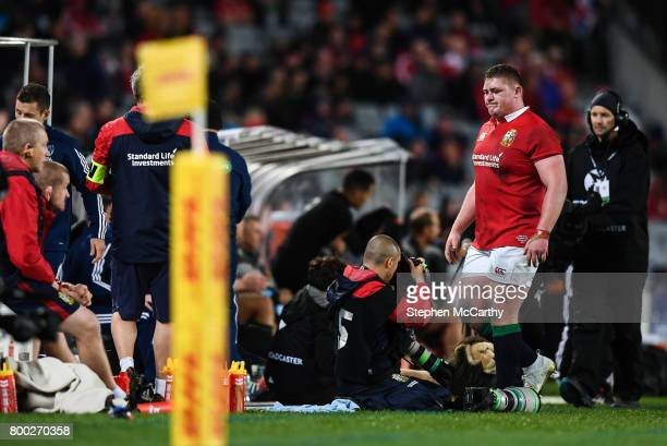 Auckland New Zealand 24 June 2017 Tadhg Furlong of the British Irish Lions leaves the pitch during the First Test match between New Zealand All...