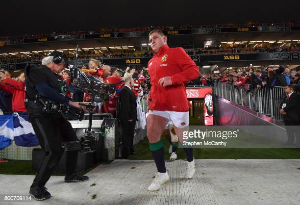 Auckland New Zealand 24 June 2017 Tadhg Furlong of the British Irish Lions runs out prior to the First Test match between New Zealand All Blacks and...