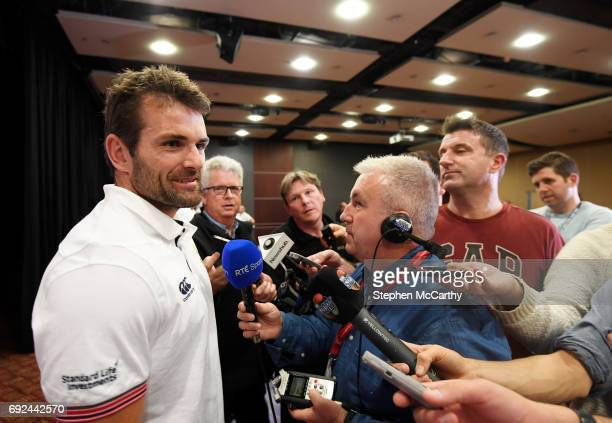 Auckland New Zealand 5 June 2017 Jared Payne of the British and Irish Lions speaks to media during a press conference at the Pullman Hotel in...