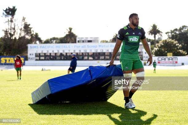 Auckland New Zealand 5 June 2017 Patrick Tuipulotu of the Blues during a training session at Alexandra Park in Auckland New Zealand
