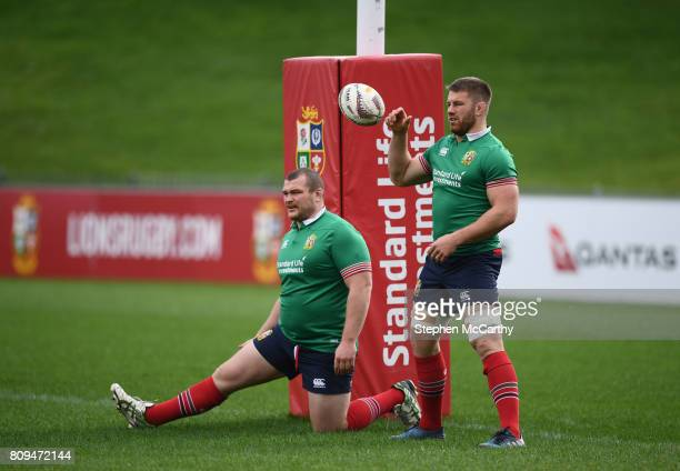 Auckland New Zealand 6 July 2017 Sean O'Brien right and Jack McGrath during a British and Irish Lions training session at QBE Stadium in Auckland New...