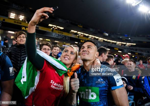 Auckland New Zealand 7 June 2017 British and Irish Lions supporter Roisin Mullan from Myshall Co Carlow takes a photograph with Sonny Bill Williams...