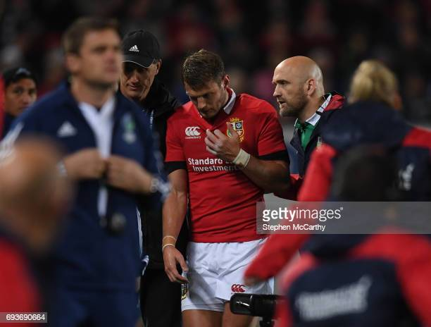 Auckland New Zealand 7 June 2017 Dan Biggar of the British Irish Lions leaves the field for a head injury assesment during the match between Auckland...