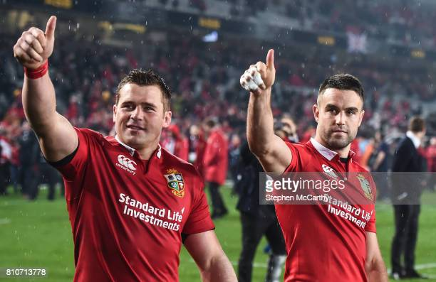 Auckland New Zealand 8 July 2017 Conor Murray right and CJ Stander of the British Irish Lions following the Third Test match between New Zealand All...
