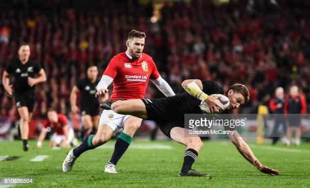 Auckland New Zealand 8 July 2017 Jordie Barrett of New Zealand in action against Elliot Daly of the British Irish Lions during the Third Test match...