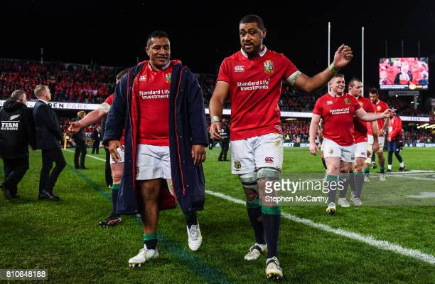 Auckland New Zealand 8 July 2017 Mako Vunipola left and Taulupe Faletau of the British and Irish Lions following the Third Test match between New...