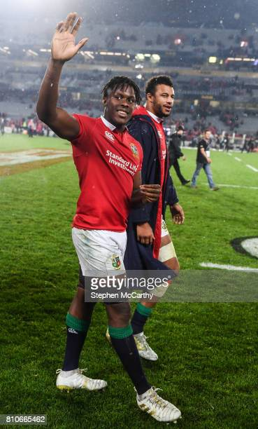 Auckland New Zealand 8 July 2017 Maro Itoje left and Courtney Lawes of the British Irish Lions following the Third Test match between New Zealand All...