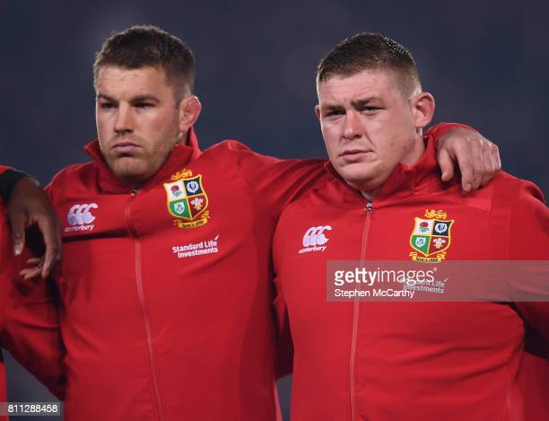 Auckland New Zealand 8 July 2017 Sean O'Brien left and Tadhg Furlong of the British Irish Lions during the Third Test match between New Zealand All...