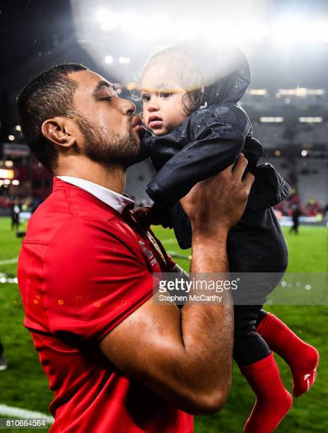 Auckland New Zealand 8 July 2017 Taulupe Faletau of the British Irish Lions and his son Israel following the Third Test match between New Zealand All...