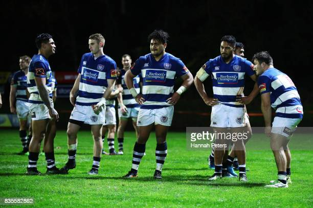 Auckland players look dejected after losing the round one Mitre 10 Cup match between Counties Manukau and Auckland at ECOLight Stadium on August 19...