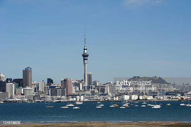 Auckland Sky Tower is seen in this general view of the city on September 10 2011 AFP PHOTO / FRANCOIS XAVIER MARIT