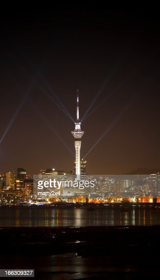 Auckland sky tower with lights