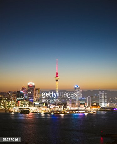 Auckland skyline at twilight