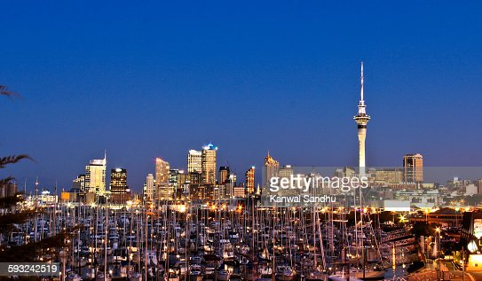 Auckland Skytower and skyline at night