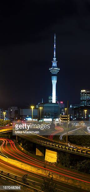 Auckland skytower, motorways at night