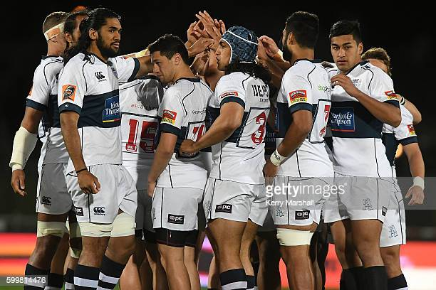 Auckland team during the round four Mitre 10 Cup match between Hawke's Bay and Auckland at McLean Park on September 7 2016 in Napier New Zealand