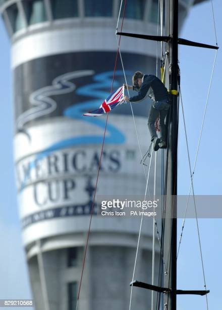 Auckland's landmark Sky Tower the tallest building in the southern hemisphere acts as the backdrop for Peter Thomas of Team GBR as he attaches a...