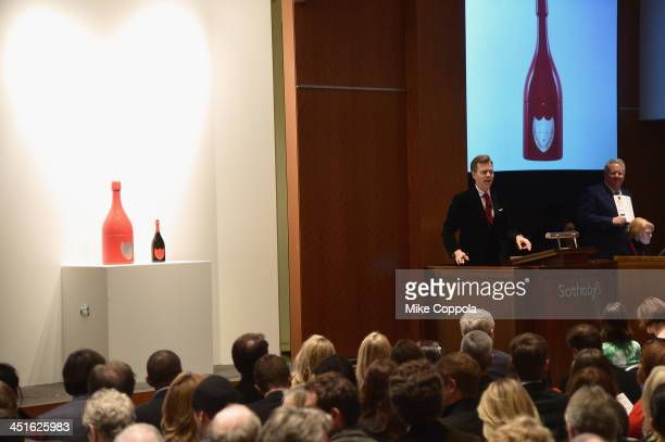 Auctioneer Oliver Barker speaks onstage at Jony And Marc's Auction at Sotheby's on November 23 2013 in New York City Photo by Mike Coppola/Getty...