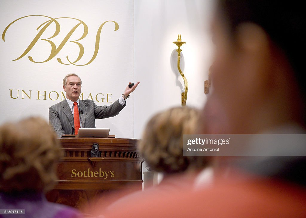 Auctioneer Philipp Wurttemberg gestures during the Collection Steinitz auction sales at Sotheby's on June 30, 2016 in Paris, France. Sotheby's France was delighted to offer at auction on 30 June, over 170 pieces that mainly come from the collection of dealer Bernard Steinitz, who died on 12 October 2012, and his wife Simone.