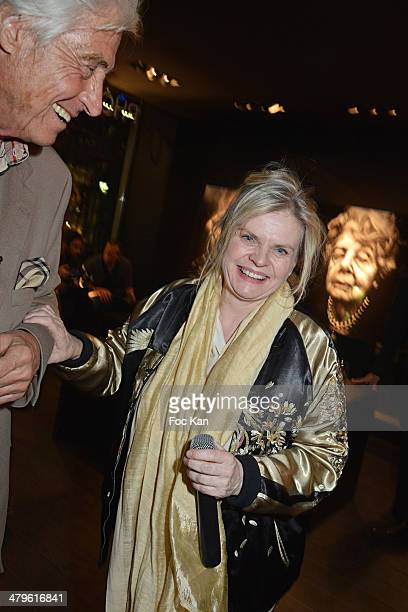 Auctioneer Pierre Cornette de Saint Cyr and Isabelle Nanty attend the Lee Jeffries Photo Exhibition Preview At Galerie Pompidou Yellow Korner on...