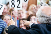 A crowd of bidders at an auction. The focus is on the auctioneer's gavel as he calls out bids.
