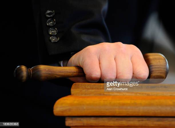 Auctioneers gavel at Tattersalls yearling sales on October 08 2013 in Newmarket England