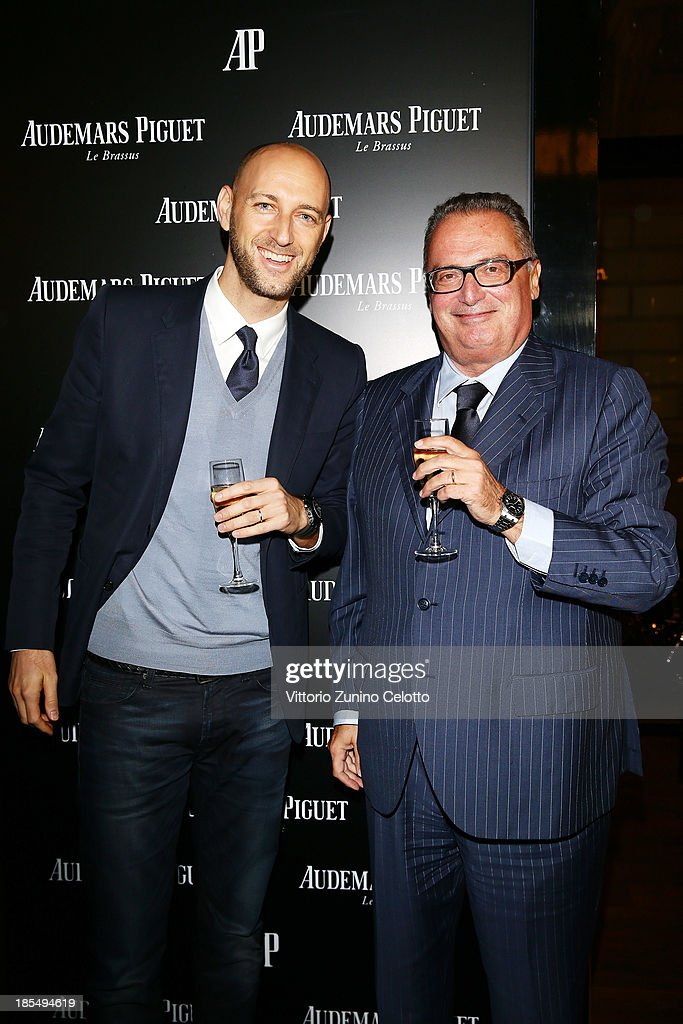 Audemars Piguet Chief Marketing Officer Tim Sayler and Audemars Piguet Italia CEO Franco Ziviani attend Audemars Piguet Cocktail on October 21, 2013 in Milan, Italy.
