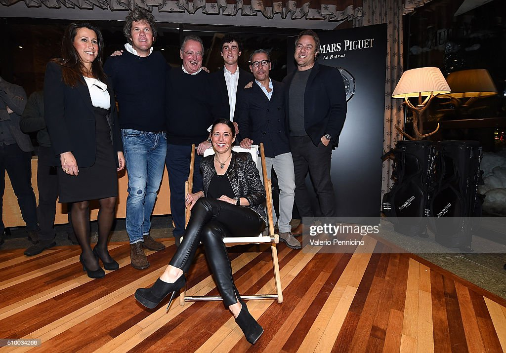 Audemars Piguet Italia CEO Franco Ziviani and Renato Paratore of Italy pose for a photograph with the winners during the Audemars Piguet Snow Golf Exhibition 2016 on February 13, 2016 in Courmayeur, Italy.