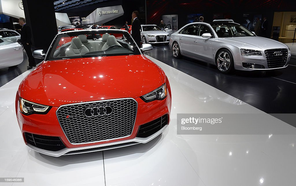 Audi AG vehicles are displayed during the 2013 North American International Auto Show (NAIAS) in Detroit, Michigan, U.S., on Tuesday, Jan. 15, 2013. The Detroit auto show runs through Jan. 27 and will display over 500 vehicles, representing the most innovative designs in the world. Photographer: David Paul Morris/Bloomberg via Getty Images