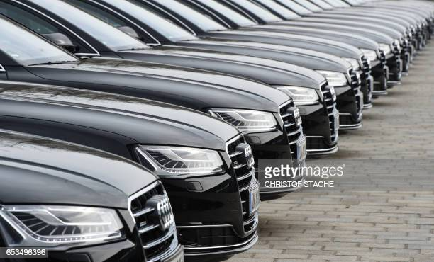 Audi cars are parked at the Audi AG company area during the annual press conference in Ingolstadt southern Germany on March 15 2017 / AFP PHOTO /...