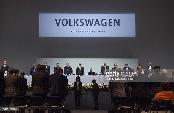 Audi CEO and member of the Board of Management of German carmaker Volkswagen Rupert Stadler VW member of the board Jochem Heizmann VW member of the...