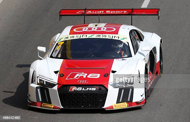 Audi R8 LMS driver Rene Rast of Germany in action while the sponsor Pirelli logo on the car during the SJM Macau GT CupFIA GT World Cup event as part...