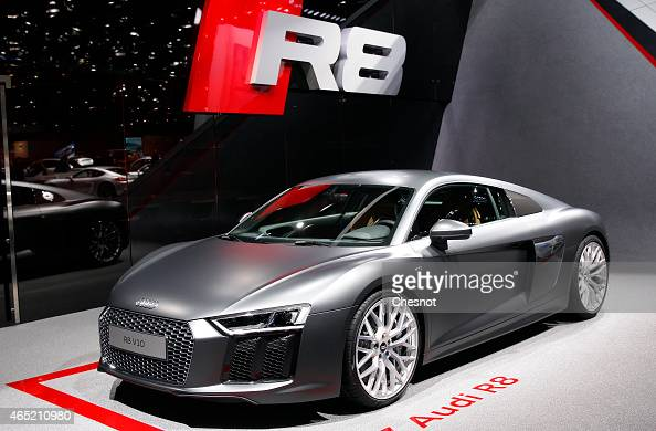 Audi R8 V 10 is presented during the press day 85th Geneva International Motor Show on March 4 2015 in Geneva Switzerland The International Geneva...
