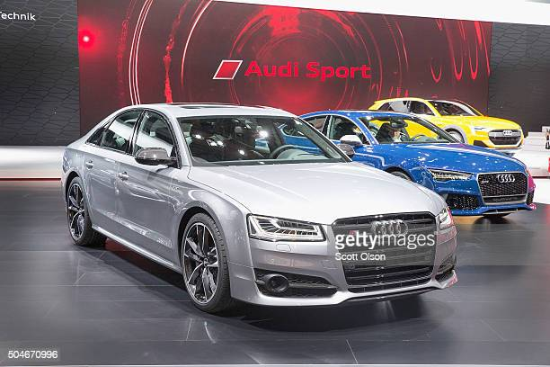 Audi shows some off their current lineup of cars at the North American International Auto Show on January 12 2016 in Detroit Michigan The show is...