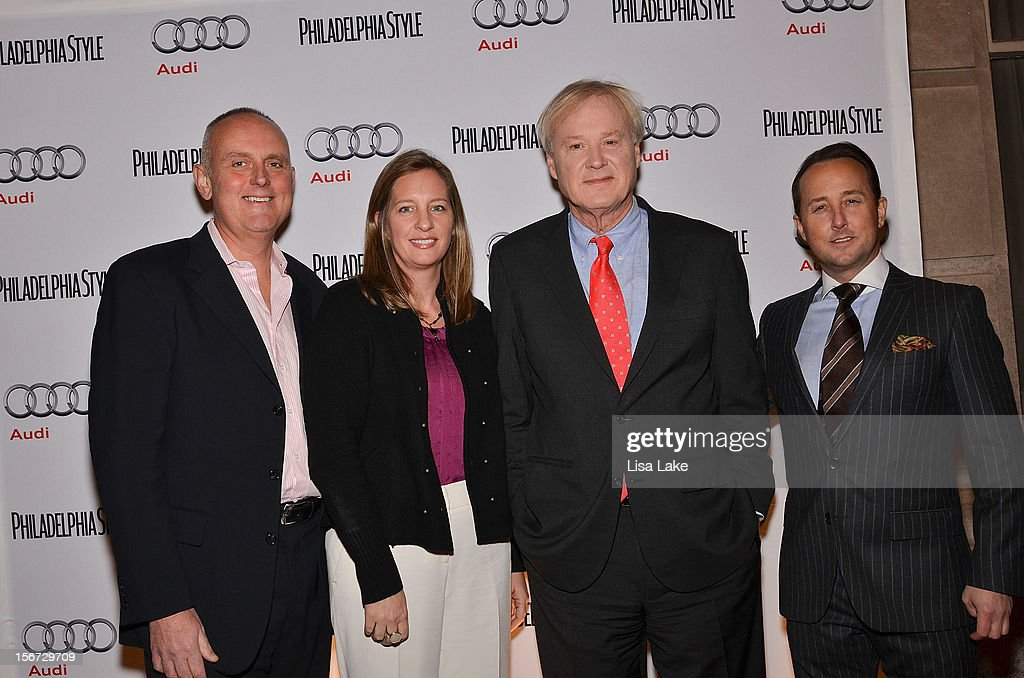Audi sponser Mike Brairton, Guest, <a gi-track='captionPersonalityLinkClicked' href=/galleries/search?phrase=Chris+Matthews+-+Television+Personality&family=editorial&specificpeople=651505 ng-click='$event.stopPropagation()'>Chris Matthews</a> and John Colabelli, Publisher of Philadelphia Style Magazine pose on the red carpet during Philadelphia Style Magazine Cover Event Hosted By <a gi-track='captionPersonalityLinkClicked' href=/galleries/search?phrase=Chris+Matthews+-+Television+Personality&family=editorial&specificpeople=651505 ng-click='$event.stopPropagation()'>Chris Matthews</a> on November 19, 2012 in Philadelphia, Pennsylvania.