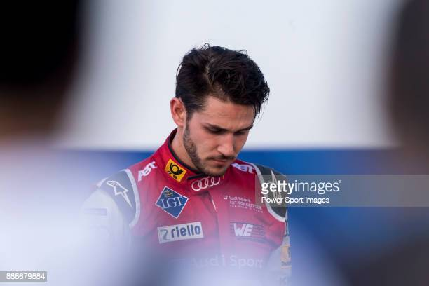 Audi Sport ABT Schaeffler's driver Daniel Abt of Germany reacts before the award ceremony after winning the FIA Formula E Hong Kong EPrix Round 2 at...