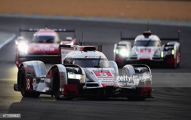 Audi Team Sport Joest driven by Lucas Di Grassi Loic Duval and Oliver Jarvis during the Le Mans 24 Hour race at the Circuit de la Sarthe on June 13...