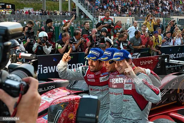 Audi winning drivers Lucas di Grassi, Loïc Duval, Oliver Jarvis