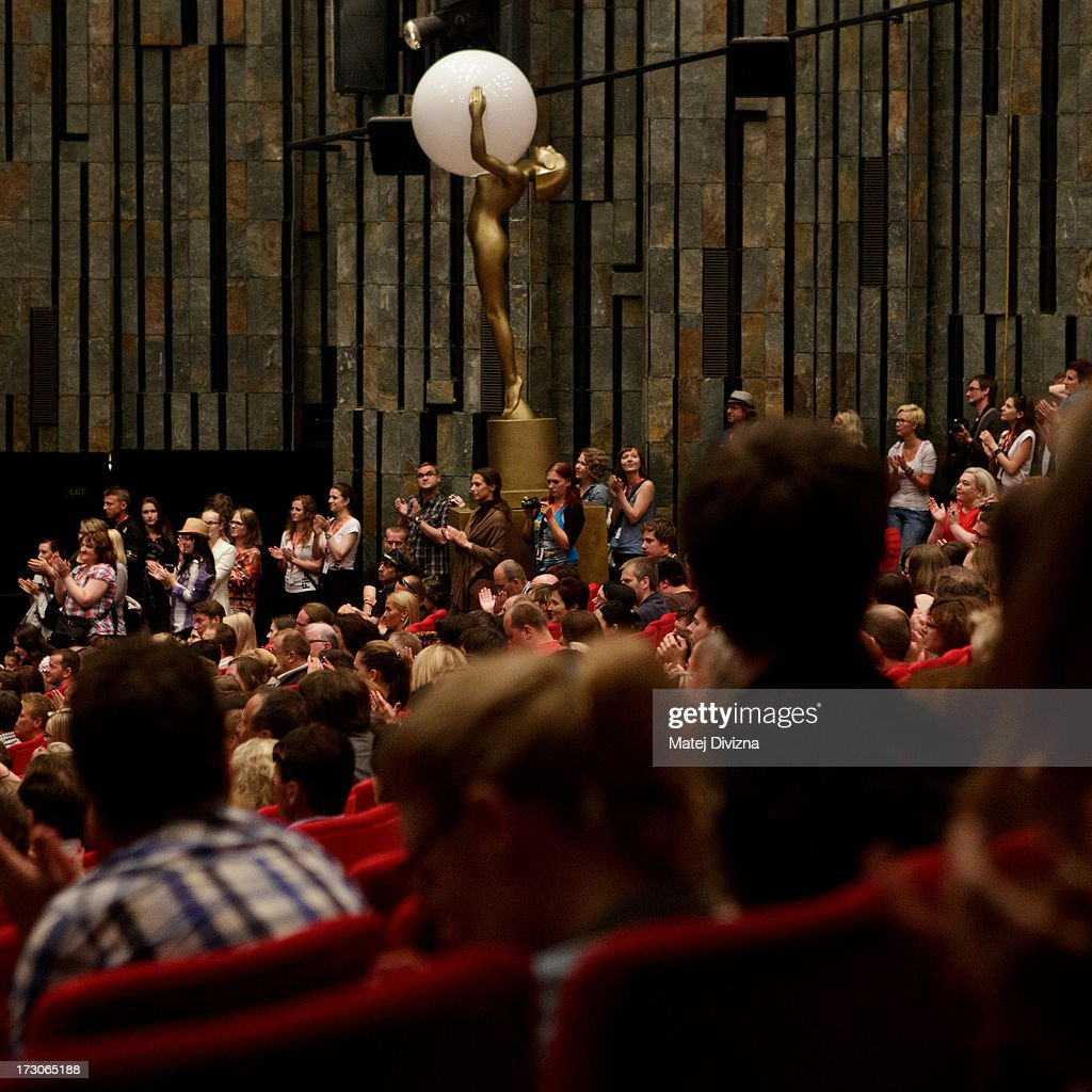 Audience applaud to makers of Czech film Revival after his premiere screening during the 48th Karlovy Vary International Film Festival (KVIFF) on July 05, 2013 in Karlovy Vary, Czech Republic.