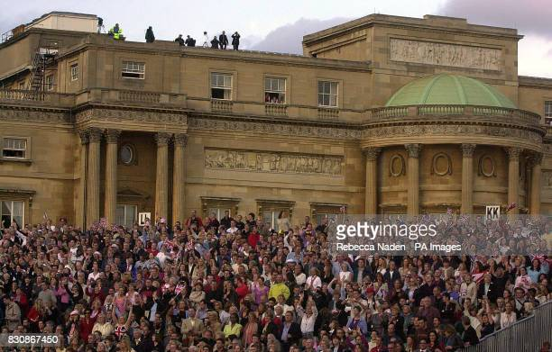 Audience at the Party of the Park Concert inside the grounds at Buckingham Palace for the second concert to commemorate the Golden Jubilee of...