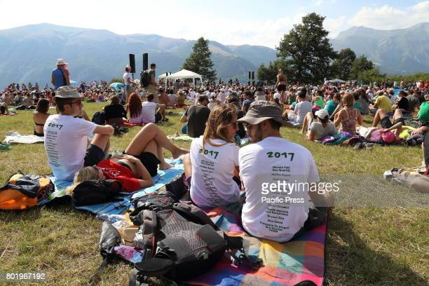 Audience during Italian singersongwriter Niccolò Fabi concert accompanied by the music group 'Gnu Quartet' in a clearing near Spelonga Arquata del...