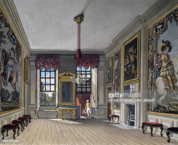Audience Hall of the Queen engraving by William James Bennett based on a design by Charles Wild from The History of the Royal Residences 18161819...