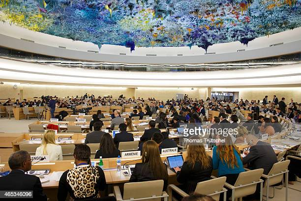 Audience in the Human Rights and Alliance of Civilizations Room during a meeting of the UN Human Rights Council on March 03 2015 in Geneva...