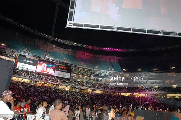Audience members attend the VIBE Music Festival at the Georgia Dome on June 11 2005 in Atlanta Georgia