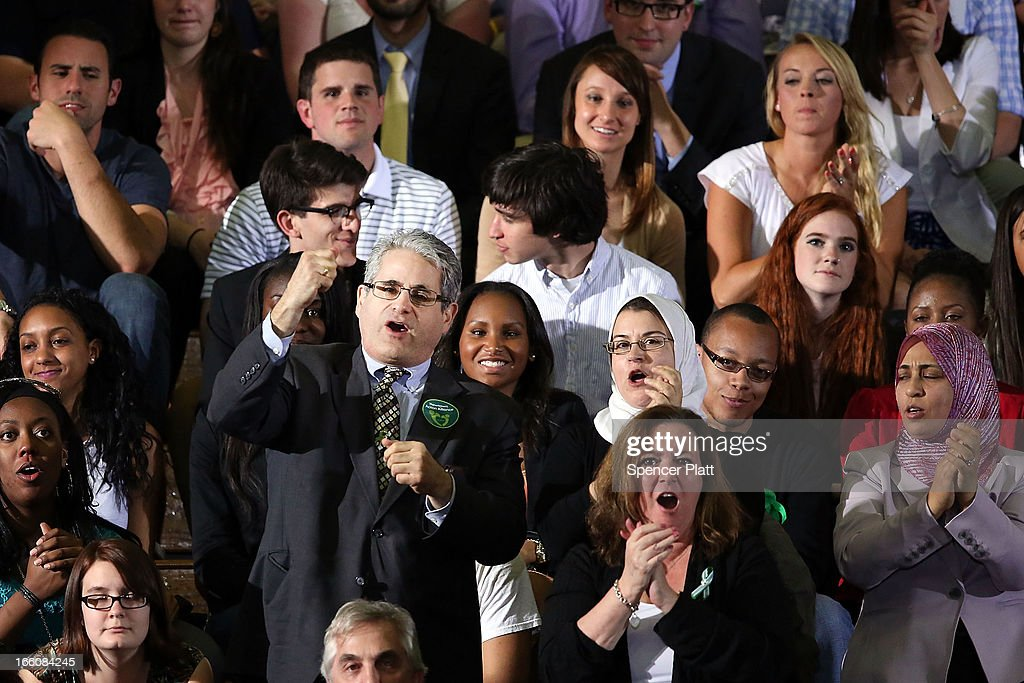 Audience members chant 'we want a vote' as U.S. President Barack Obama delivers a speech on gun control at the University of Hartford on April 8, 2013 in West Hartford, Connecticut. Nearly four months after the Sandy Hook Elementary School shootings, Connecticut has passed some of the toughest gun control measures in the nation.