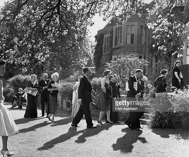 Audience members during an interval at the Glyndebourne Festival Opera East Sussex circa 1960