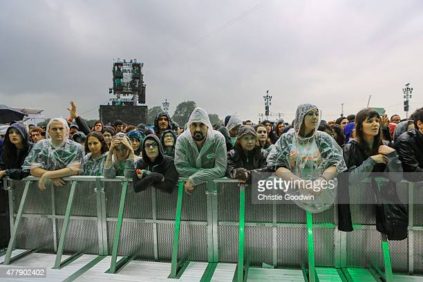 Audience members endure the rain on day 2 of British Summer Time 2015 at Hyde Park on June 20 2015 in London United Kingdom