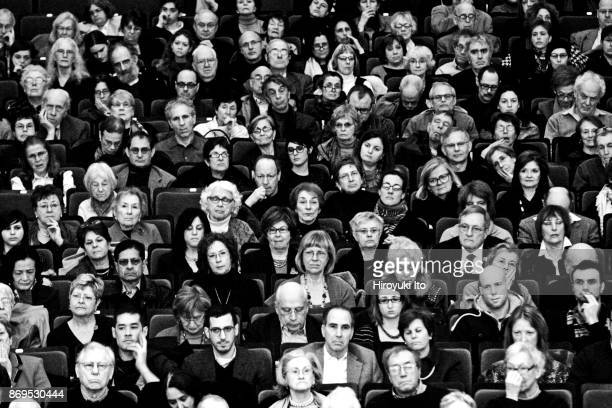 Audience members listening to Orpheus Chamber Orchestra performing Stravinsky's 'Concerto in D major Basel Concerto' at Carnegie Hall on Saturday...